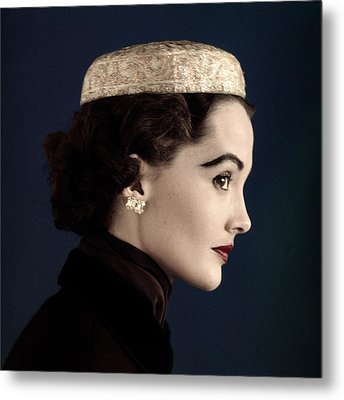 A Model Wearing A Siam Hat Metal Print by Horst P. Horst