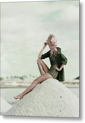 A Model Wearing A Swimsuit And Jacket Metal Print by Leombruno-Bodi