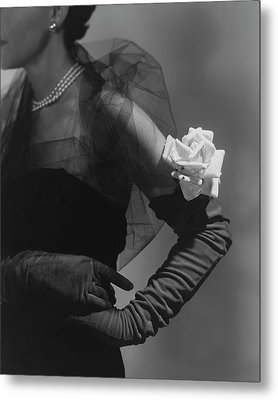 A Model Wearing And Velvet Rose Metal Print