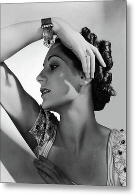 A Model Wearing Black Starr & Frost-gorham Metal Print by Horst P. Horst