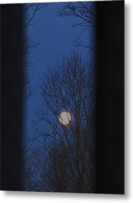 A Moon In A Blue Morning Metal Print
