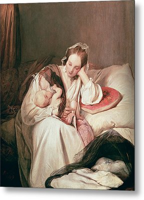 A Mothers Love, 1839 Metal Print by Josef Danhauser