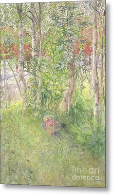 A Nap Outdoors Metal Print by Carl Larsson