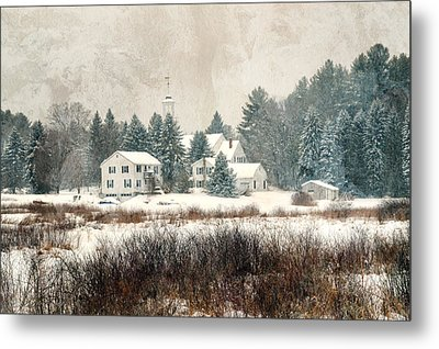 A New England Village In Winter- Antique - Textured Metal Print