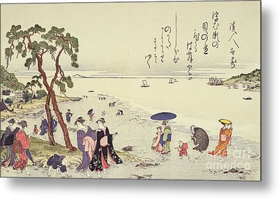 A Page From The Gifts Of The Ebb Tide Metal Print by Kitagawa Utamaro