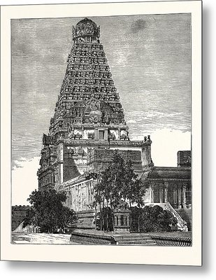 A Pagoda At Tanjore Metal Print by English School