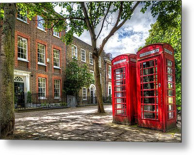 A Pair Of Red Phone Booths Metal Print by Tim Stanley