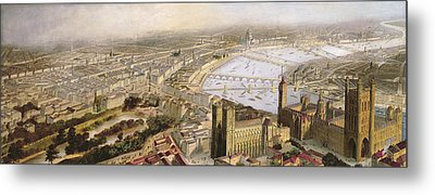 A Panoramic View Of London Metal Print by English School