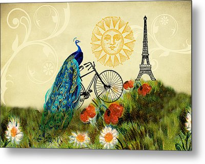 A Peacock In Paris Metal Print