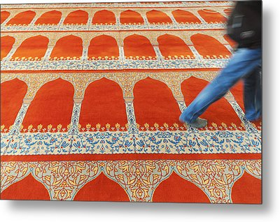 A Person Walking Over The Colourful Metal Print by Keith Levit