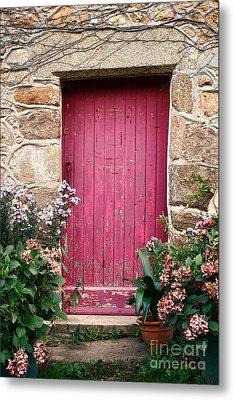 A Pink Door Metal Print by Olivier Le Queinec