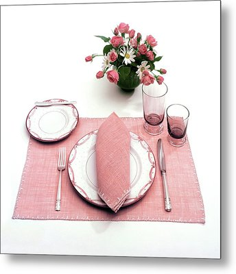 A Pink Table Setting Metal Print by Haanel Cassidy