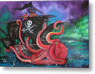 A Pirates Tale - Attack Of The Mutant Octopus Metal Print by Laura Barbosa