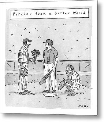 A Pitcher Hands A Batter Flowers Metal Print by Kim Warp