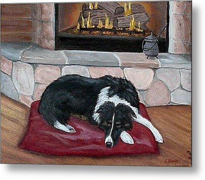 Metal Print featuring the painting A Place By The Fire by Fran Brooks