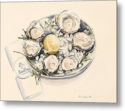 A Plate Of Oysters Metal Print by Alison Cooper