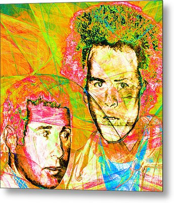 A Poet And A One Man Band Simon And Garfunkel 20140908 Square V2 Metal Print by Wingsdomain Art and Photography