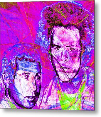 A Poet And A One Man Band Simon And Garfunkel 20140908 Square Metal Print by Wingsdomain Art and Photography