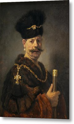 A Polish Nobleman Metal Print by Rembrandt