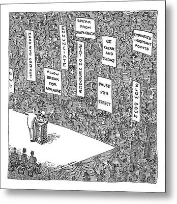 A Politician Stands In Front Of An Audience Metal Print by John O'Brien