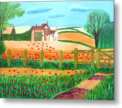 Metal Print featuring the painting A Poppy Field by Magdalena Frohnsdorff