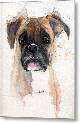 A Portrait Of A Boxer Dog Metal Print by Angel  Tarantella