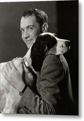 A Portrait Of John Held Jr. Hugging A Dog Metal Print by Nicholas Muray