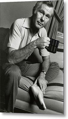 A Portrait Of Johnny Carson Sitting Metal Print