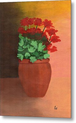 A Pot Of Geraniums Metal Print by Bav Patel
