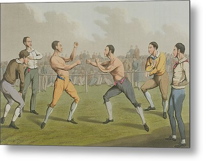A Prize Fight Aquatinted By I Clark Metal Print