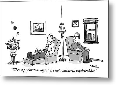 A Psychiatrist To His Patient Who Lies On A Couch Metal Print