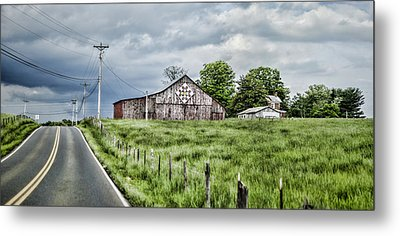 A Quilted Barn Metal Print by Heather Applegate