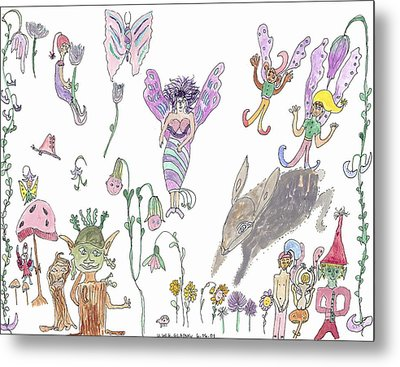 Metal Print featuring the painting A Rabbit And Some Fairies by Helen Holden-Gladsky