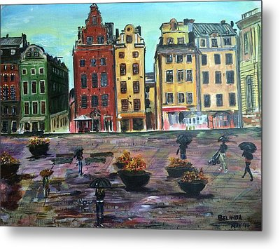 A Rainy Day In Gamla Stan Stockholm Metal Print by Belinda Low