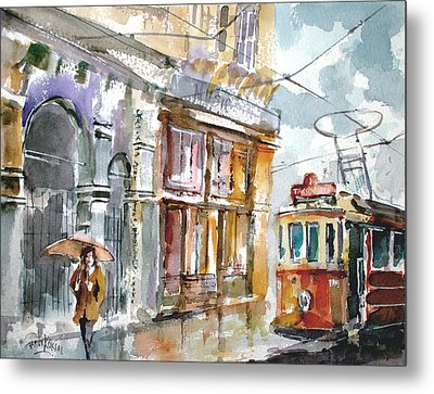 Metal Print featuring the painting A Rainy Day In Istanbul by Faruk Koksal