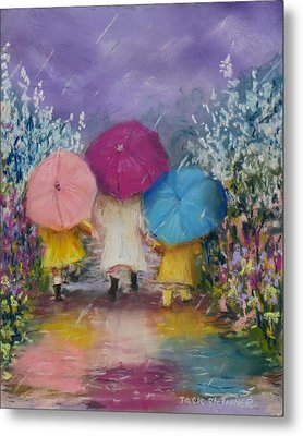 A Rainy Day Stroll With Mom Metal Print