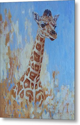 Metal Print featuring the painting A Rare Giraffe by Margaret Saheed