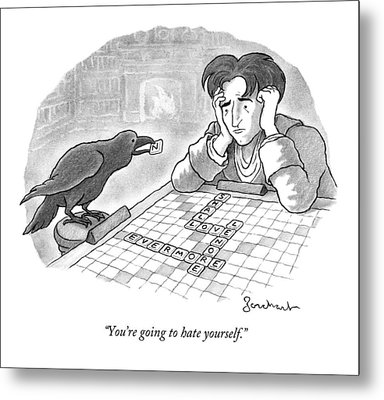 A Raven Is About To Add An N To The Word Evermore Metal Print