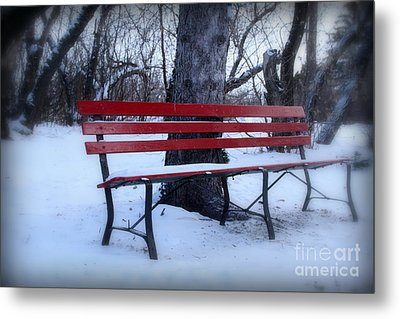 A Red Bench Waiting For Spring Metal Print