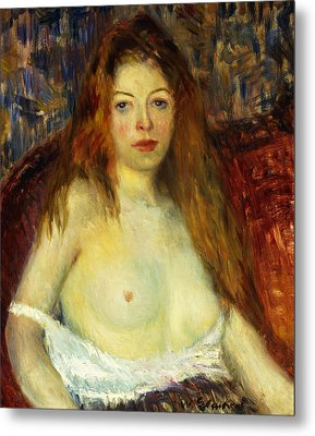 A Red-haired Model Metal Print by William James Glackens