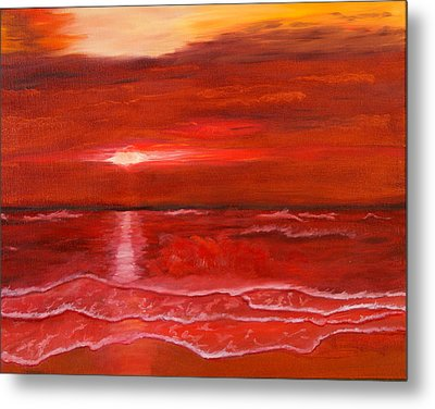 A Red Sunset Metal Print by J Cheyenne Howell