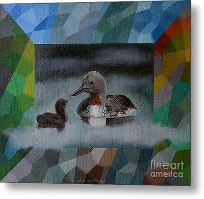 A Red-throated Diver And The Chick Metal Print
