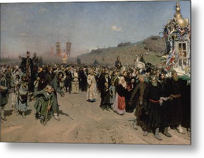 A Religious Procession In The Province Of Kursk, 1880-83 Oil On Canvas Metal Print by Ilya Efimovich Repin