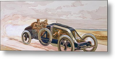 A Renault Racing Car Metal Print by Ernest Montaut