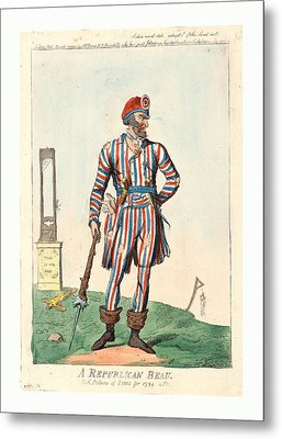 A Republican Beau, A Picture Of Paris For 1794, Cruikshank Metal Print by English School