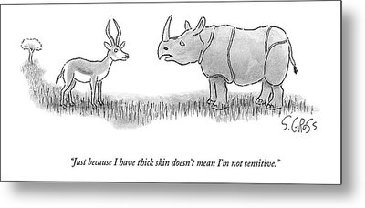 A Rhinoceros Speaks To A Gazelle Metal Print by Sam Gross