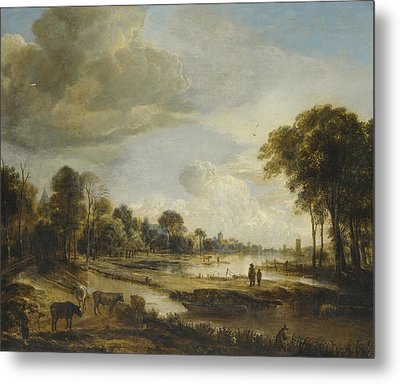 Metal Print featuring the painting A River Landscape With Figures And Cattle by Gianfranco Weiss