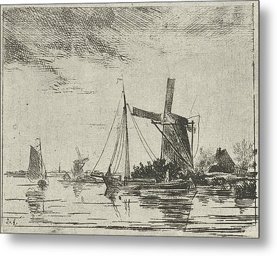 A River View With Some Boats, In The Background A Mill Metal Print