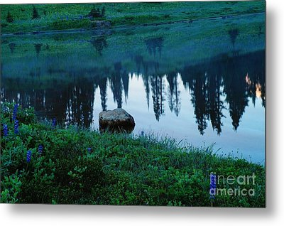 A Rock In The Reflection Metal Print by Jeff Swan
