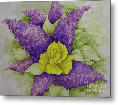 A Rose Among The Lilacs Metal Print